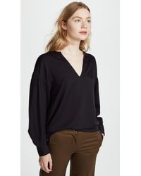 Vince - Ruched Split Neck Blouse - Lyst