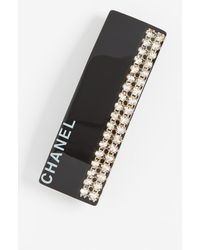 What Goes Around Comes Around Chanel Crystal Acrylic Barrette - Black