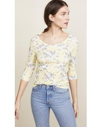 Rebecca Taylor - Long Sleeve Lemon Rose Jersey Top - Lyst