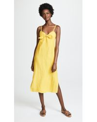 Three Dots - Linen Tie Front Midi Dress - Lyst
