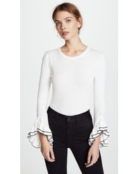 MILLY - Layered Ruffle Sleeve Pullover - Lyst