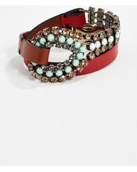 Marni - Leather And Strass Bracelet - Lyst