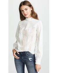 FRAME - Lace Embroidered Blouse - Lyst