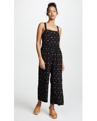 Madewell - Smocked Crop Jumpsuit - Lyst