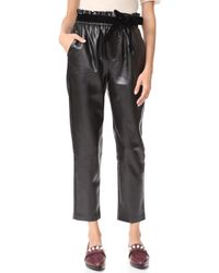 Suncoo - Jil Faux Leather Joggers - Lyst