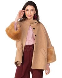 BURU White Label Franny Fur Cuff Coat - Brown