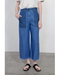 Raquel Allegra - Indigo Stone Washed Denim High Waisted Crop Pant - Lyst
