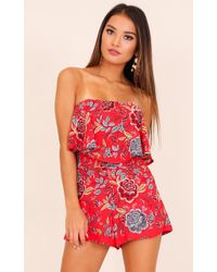 Showpo | Cool Breeze Playsuit In Red Floral | Lyst