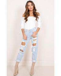 Showpo - Amber Jeans In Light Wash - Lyst
