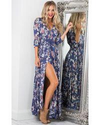 Showpo - Lone Traveller Maxi Dress In Indigo Floral - Lyst