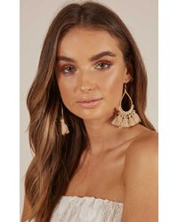 Showpo - Above The Clouds Earrings In Taupe - Lyst