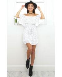 Showpo - The Heart Speaks Dress In White Polka Dot - Lyst