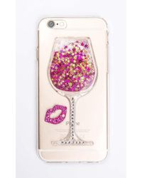 Showpo | Friday Night Wine Iphone Cover In Pink And Gold Glitter - 6 | Lyst