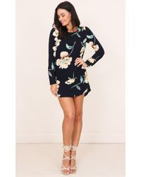 Showpo - Diamond Lover Shift Dress In Navy Floral - Lyst