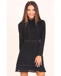 Showpo | Watch Me Fall Dress In Black | Lyst