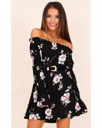 Showpo | Look Of Love Dress In Black Floral | Lyst