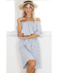 Lyst dkny plus size roman stripe crepe de chine ls yneck shirt showpo roman holiday dress in navy stripe lyst voltagebd Images