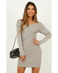Showpo Unlocked Knit Dress - Gray