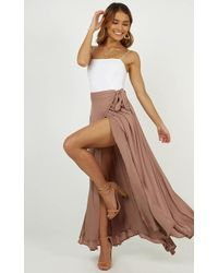 Showpo - Break A Leg Maxi Skirt In Mocha - Lyst