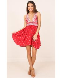 Showpo - Chica Dress In Red Print - Lyst