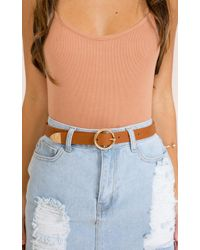 Showpo - Viral Belt In Tan And Gold - Lyst