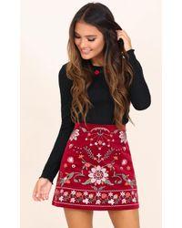Showpo - Im Worth It Skirt In Wine Embroidery - Lyst