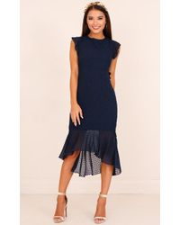 Showpo | Tighten The Strings Dress In Navy | Lyst