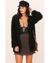 Showpo - Mod Babe Fur Coat In Black - Lyst
