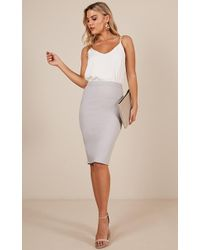 Showpo - Claim It Back Skirt In Grey - Lyst