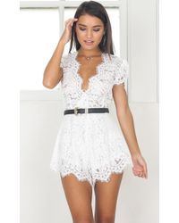 Showpo - Through The Fire Playsuit In White - Lyst