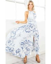 Showpo - Run Alone Maxi Dress In Blue Floral - Lyst