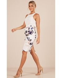 Showpo - Claim It Back Skirt In White Print - Lyst