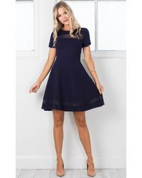Showpo - Take Note Dress In Navy - Lyst