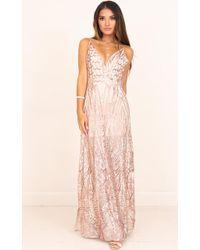 Showpo - Fools Gold Dress In Rose Gold Sequin - Lyst