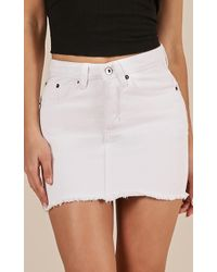 Showpo - I Got This Skirt In White Denim - Lyst
