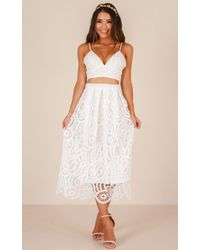 Showpo - Wherever You Go Two Piece Set In White Crochet - Lyst