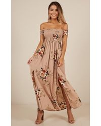 Showpo - Daytime Dancer Maxi Dress In Mocha Floral - Lyst