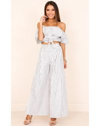 Showpo - Count Your Lucky Stars Two Piece Set In White Stripe - Lyst