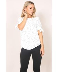 Showpo - Sway Top In White Print - Lyst