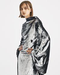 Paula Knorr - Silver Long Sleeve Sequin Dress - Lyst