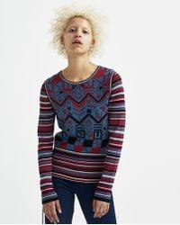 Sadie Williams - Multi Color Jacquard Long Sleeve Top - Lyst