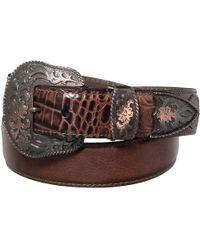 Lejon - Bison Leather Embossed Alligator Belt With Embroidered Buckle - Lyst