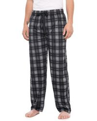 Izod - Silky Fleece Black Check Sleep Pants (for Men) - Lyst