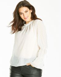 Simply Be - High Neck Fluted Sleeve Blouse - Lyst