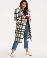 Simply Be - Wool Check Trench Coat - Lyst