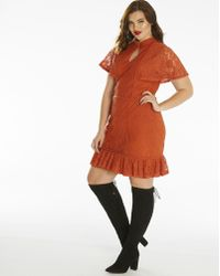 Simply Be - Fashion Union Lace Angel Sleeve Dress - Lyst