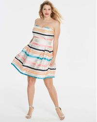 0637271707bcfa Simply Be - Burn Out Stripe Bandeau Prom Dress - Lyst
