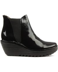 Fly London - Black Patent Ankle Boot - Lyst