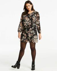 aa8dc59308 Marks & Spencer Floral Print Drop Waist Mini Dress in Black - Lyst