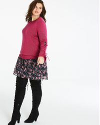 Simply Be - Flared Sleeve Eyelet Sweater - Lyst